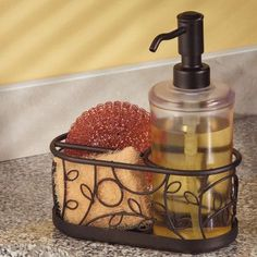 InterDesign Twigz Kitchen Countertop Soap Dispenser Pump, Sponge And  Scrubby Caddy Organizer