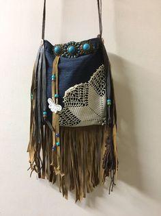 Handmade Denim & Leather Cross-body S Cellphone Bag Suede Fringe Boho Hobo B.Joy  | eBay