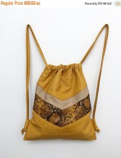 Yellow leather backpack,Yellow leather bag,Laptop backpack,Yellow drawstring bag