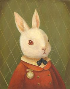 I adore Emily Martin's work; several of her prints are hanging in my daughter's room.  Love her recent Alice in Wonderland paintings - especially this little guy!