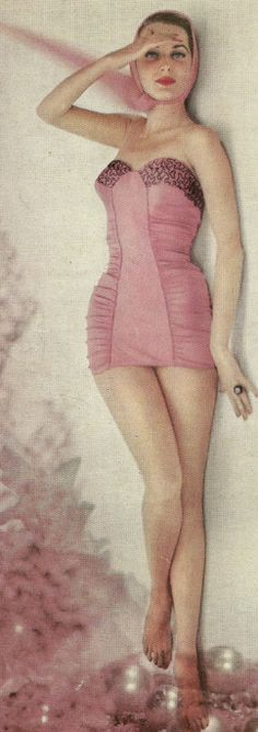 1950's pink swimsuit