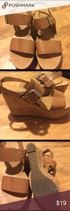 Marc Fisher Wedges In good condition.  Cork wedge with tan leather straps. Marc Fisher Shoes Wedges