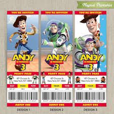 Toy Story Birthday Ticket Invitation Printable Toy Story Ticket