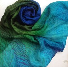 Hand dyed silk habotai scarf large Peacock by Artsbyartemis How To Dye Fabric, Shibori, Peacock, Tie Dye, Feather, Dyed Silk, Textiles, Glamour, Hands