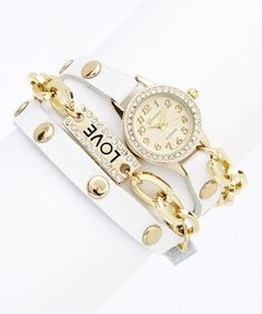 Look at this #zulilyfind! White & Gold 'Love' Wrap Watch #zulilyfinds