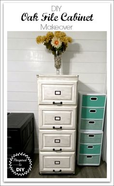 Complete a DIY File Cabinet makeover to transform those orange oak furniture pieces into a rustic farmhouse style cabinet. With some chalk style paint and some spray paint, transform or makeover any furniture piece into more modern décor for your home.