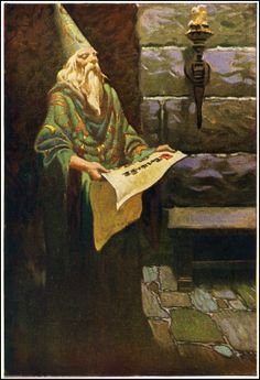 """Merlin.  Color plate from """"King Arthur and His Knights"""", illus. by Frank Godwin (1889 ~ 1959) (via Null Entropy)"""