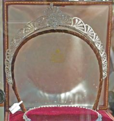 Art Deco halo tiara, marked as diamonds set in platinum, seen for sale in the Burlington Arcade, December 2013. Sorry about the poor quality image, taken through glass.