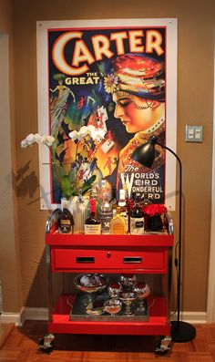 inspiring~bar cart made from tool cart - with carter the great - the cavender diary