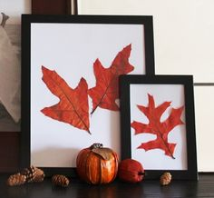 DIY fall decorating idea: Framed fall leaves on the mantle