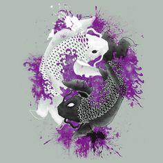 yin yang koi fish with purple splatter