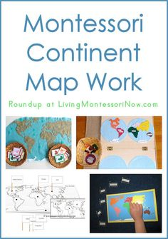 """Round-up of Montessori Continent Map Work. Geography is a big part of Montessori curriculum- these are all DIY activities to help kids explore maps. Montessori Preschool, Maria Montessori, Montessori Education, Montessori Materials, Kids Education, Montessori Elementary, Preschool Kindergarten, History Education, Teaching History"