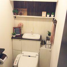 トイレタンク隠し DIY/フェイクグリーン/100均/DIY/タイポグラフィ…などのインテリア実例 - 2016-07-06 19:37:11 | RoomClip(ルームクリップ) Diy Interior, Interior Design, Toilet Decoration, Bathroom Toilets, Home Organization, Diy Design, House Design, Furniture, Home Decor