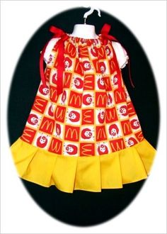 McDonalds Dress Girls 4T-5T NEW Custom Boutique & Matching Red & Yellow Hairbow -$7.00 for the set! For sale now on ebay. Search ebay for item number 190833198724 Perfect for a McDonald Land Birthday party :)