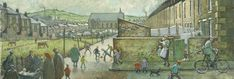 """""""Mount Pleasant"""" by Norman Cornish. Miners and Bishops of Durham have had their ups and downs as a new exhibition reveals - Chronicle Live Auckland Castle, Norman Cornish, Barnard Castle, St Johns College, Bishop Auckland, Most Famous Artists, Mount Pleasant, Urban Life, Large Painting"""