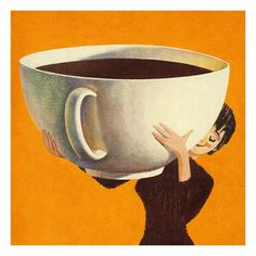Woman Holding a Huge Cup of Coffee Art Print at AllPosters.com