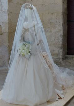 Noblesse & Royautés:  Wedding dress of Philomena de Tornos Y Steinhart, Duchess of Vendome, worn to her religious ceremony, May 2, 2009.  It was designed by Christian Lacroix and inspired by classic designs from Versailles.