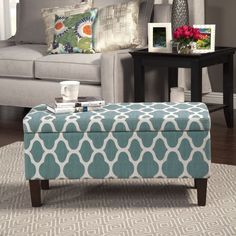 HomePop Large Teal Blue Decorative Storage Ottoman (Teal Blue Ottoman) (Fabric)