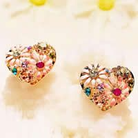 Zinc Alloy Stud Earring, stainless steel post pin, Heart, gold color plated, enamel & with rhinestone
