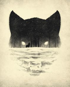 the negative space of the bottom of the page creates the wolf's face, but at the same time creates a snowy landscape for another fox