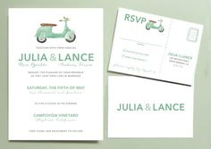 Vespa Scooter Wedding Invitation by Leveret Paperie