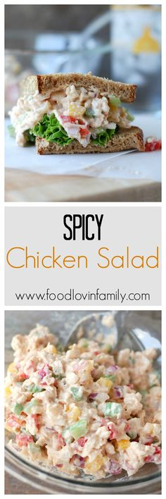 Spicy Chicken Salad has the perfect amount of creaminess, crunch and a pinch of heat. Great for lunch, picinics and parties | http://www.foodlovinfamily.com/spicy-chicken-salad/