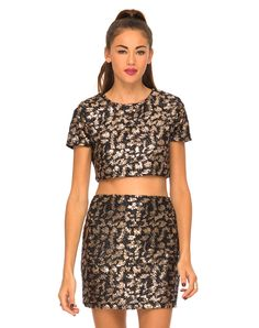 Motel Kimmy Tinsel Bodycon Skirt in Black and Gold, TopShop, ASOS, House of Fraser, Nasty gal