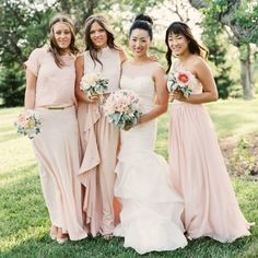 The pink of those bridesmaid is perfect!