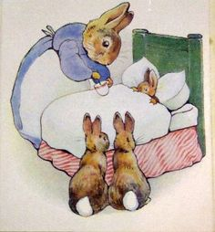 Mom gives Peter Rabbit some broth