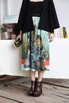 Safari African Print Midi Skirt Pleated Silk Skirt by stylenation, $149.00