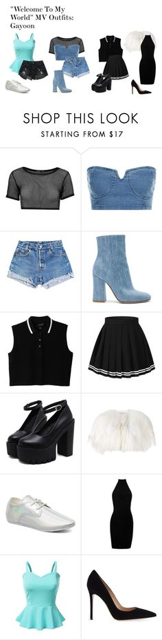 """""Welcome To My World"" MV Outfits: Gayoon"" by zhangmaryliu2002 on Polyvore featuring Boohoo, Levi's, Gianvito Rossi, Monki, Valentino, ElevenParis and Doublju"