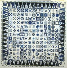 A blue and white version of Dear Jane from Hungary, made with traditional Hungarian blue fabrics.  Posted at Steffi's Candy Quilts.  Patchwork Dortmund 2010 show