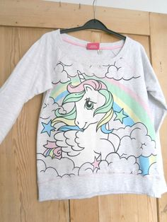 New Pastel Goth Unicorn My Little Pony Sweatshirt Jumper Primark 10 12 Kawaii | eBay