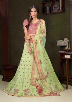 Latest wedding wear  Designer Green lehenga with pink choli