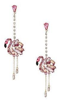 Betsey Johnson Pink And Rose Gold Linear Drop Flamingo Earrings Ad Flamingos Betseyjohnson