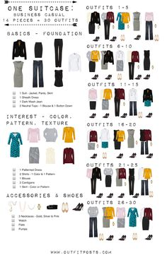 one suitcase: business casual – checklist graphic. love this even just as a ward… one suitcase: business casual – checklist graphic. love this even just as a wardrobe building tool Travel Wardrobe, Built In Wardrobe, Work Wardrobe, Wardrobe Ideas, Wardrobe Basics, Professional Wardrobe, Business Professional, Capsule Wardrobe How To Build A, Small Wardrobe