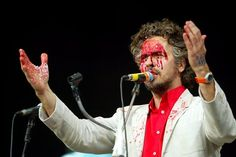 The lead singer Wayne Coyne of the Flaming Lips at T in the Park at Balado, Kinross in Scotland during the opening acts of the 10th Anniversary of the Scottish concert.