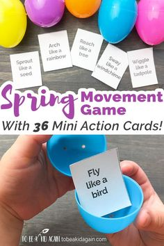 Spring Movement Game Using Plastic Eggs + Free Printable Action Cards - Spring Gross Motor- Easter Brain Breaks - Action Game - Bugs, Birds, Spring Vocabulary, and Baby Animals - To be a Kid Again