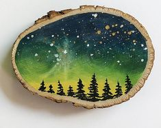 Tree Watercolor Painting, Galaxy Painting, Galaxy Art, Tole Painting, Painting On Wood, Phone Wallpaper Boho, Christmas Wood, Christmas Crafts, Wood Slice Crafts