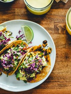 Black bean + tempeh tacos with cashew cheese sauce, vegan Mexican recipe Vegan Tacos, Vegan Mexican Recipes, Vegetarian Recipes, Healthy Recipes, Vegetarian Protein, Healthy Meals, Healthy Food List, Healthy Eating, Pico De Gallo