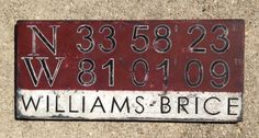 Size is 11.5h x 21.5w… Painted coordinate sign on reclaimed wood. This is longitude and latitude location of the stadium beloved to the