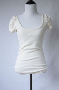 "Vintage 1970's ""Farrah"" Plain White Puff Sleeve Tee      Size- S by BeehausVintage on Etsy"