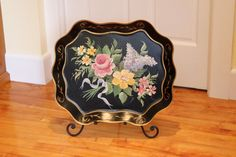 Taking its Tole ... Large Vintage Metal Tray - Handpainted Toleware, Black and Pastels