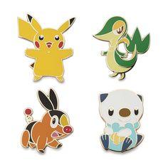 Image for Pikachu, Snivy, Tepig, Oshawott Pokémon Pins from Pokemon Center First Pokemon, Black Pokemon, Pokemon Pins, Diy Artwork, Shop Till You Drop, Pin Art, Cool Pins, Pin And Patches, Pin Badges