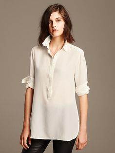 Light silk tunic blouse in cream, at Banana Republic.