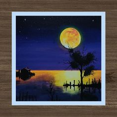 Moonlight painting | beautiful night painting. Credit - ArtisticLynx Youtube channel. Subscribe for amazing daily painting videos Moonlight Painting, Acrylic Canvas, Painting Videos, Hello Everyone, Channel, Landscape, Night, Amazing, Youtube
