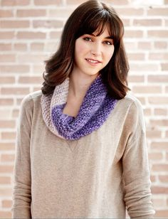 Purple is such an underutilized color. Bring it back into your life with this Two Toned Easy Knit Cowl. All it takes is two skeins and an evening of your time to get you pretty in purple.