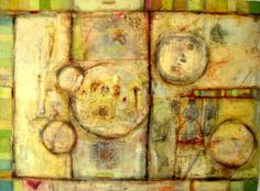 Encaustic, oil and collage on a birch panel