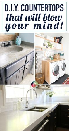 You don't have to be stuck with countertops you don't like. There are so many DIY countertops out there that can be done on a teeny, tiny budget! So many DIY countertops to choose from. This round-up shares the best DIY countertops from around the web! Do It Yourself Furniture, Do It Yourself Home, Home Improvement Projects, Home Projects, Cheap Home Decor, Diy Home Decor, Kitchen Cabinets Before And After, Galley Kitchen Remodel, Condo Kitchen