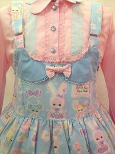 •○~ Sweet lolita, 甘いロリータ♥  pastel - Angelic Pretty - salopette - detail - rabbit print - lace - bow - blouse - cute - kawaii - Japanese street fashion✮ ~•○